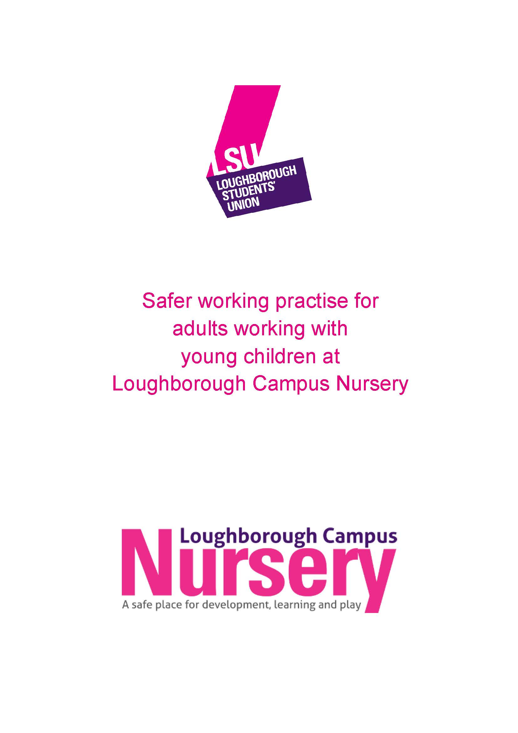 Safer working practise for adults working with young children